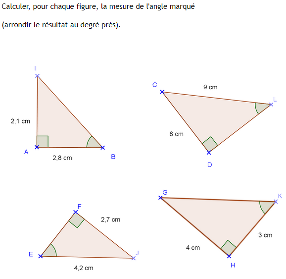 Calculs de la mesure d'un angle et trigonométrie : exercices en 3ème.