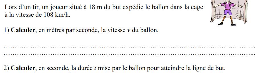 Vitesse moyenne d'un ballon : exercices en 4ème.