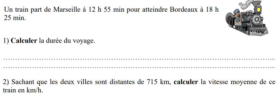 Train et vitesse moyenne : exercices en 4ème.