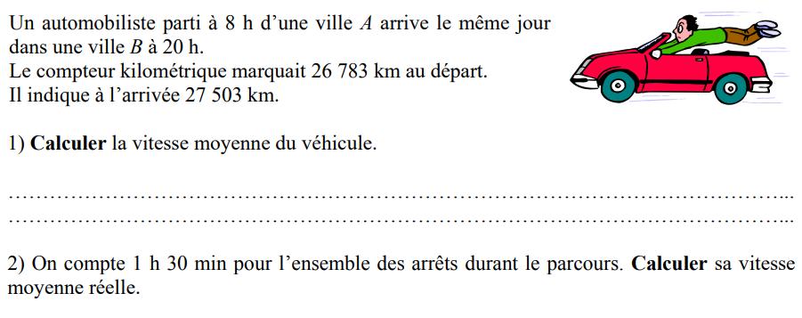 Compteur kilométrique et vitesse moyenne : exercices en 4ème.
