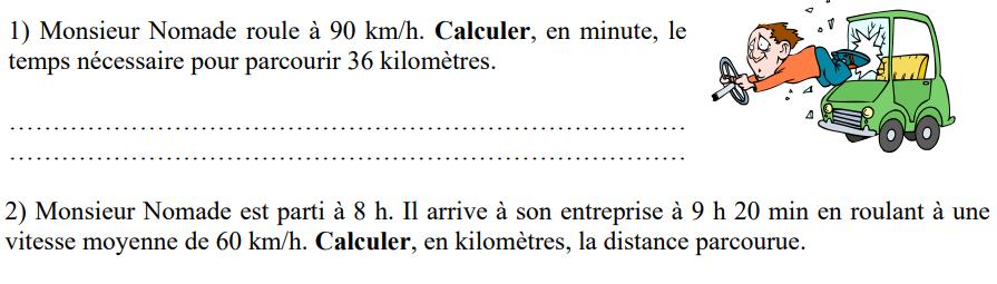 La vitesse de Monsieur Nomade : exercices en 4ème.