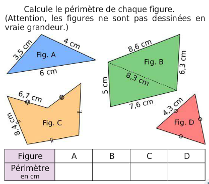 Périmètres de figures et codage : exercices en 6ème.