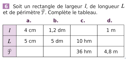 Périmètre d'un rectangle : exercices en 6ème.
