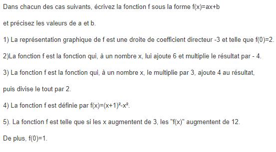 A la recherche de fontions affines. : exercices en 3ème.