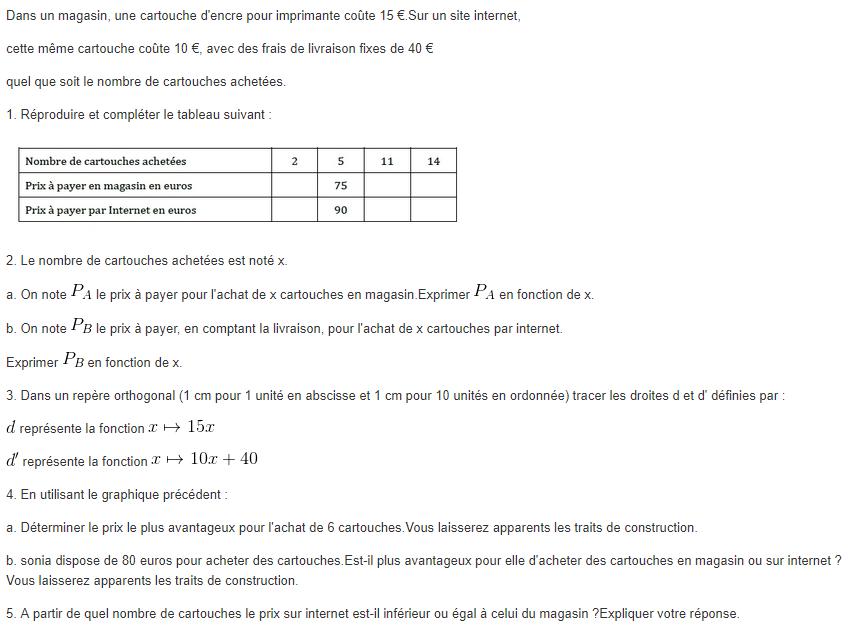 Problème fonction affine et linéaire. : exercices en 3ème.