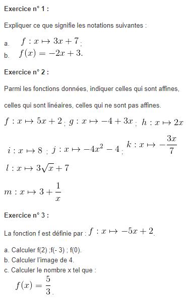 Les fonctions affines : exercices de maths 3ème (troisième ...