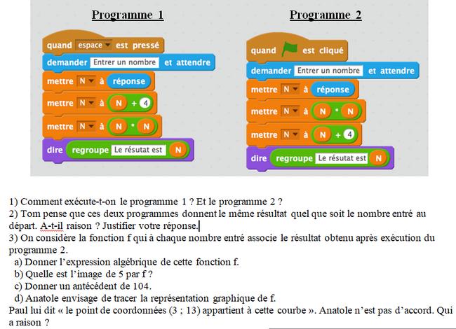 Algorithme avec scratch : exercices en 3ème.