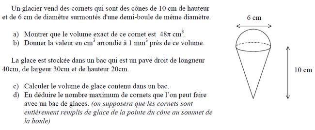 Calculs de volumes : exercices en 3ème.
