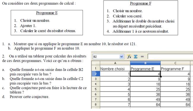 Tableur et calcul littéral : exercices en 3ème.