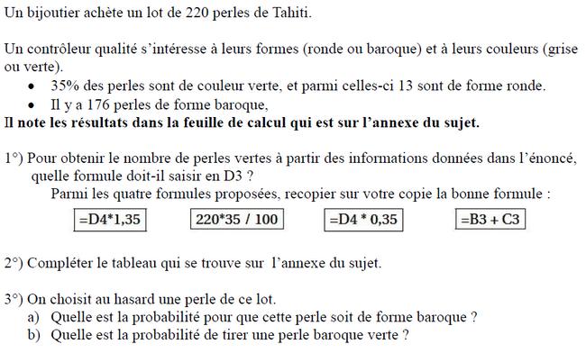Probabilités et statistiques : exercices en 3ème.