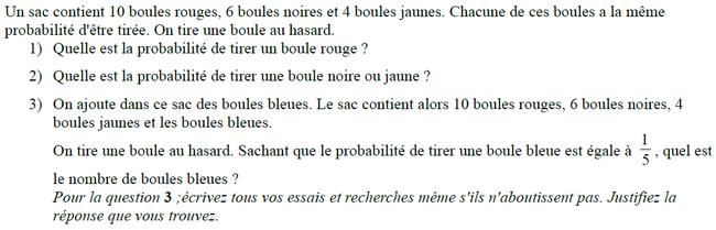 Probabilités : exercices en 3ème.
