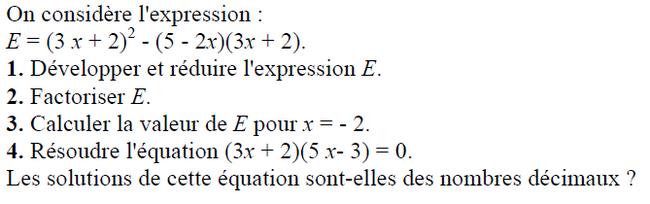 Calcul littéral : exercices en 3ème.