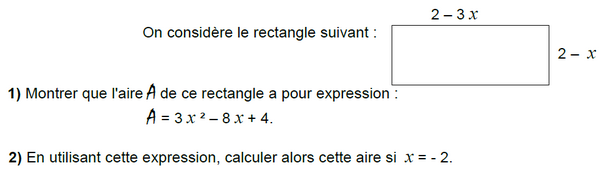 Rectangle et calcul littéral : exercices en 3ème.
