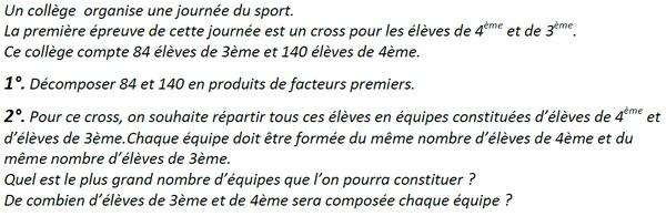 Arithmétique et journée de sport : exercices en 3ème.