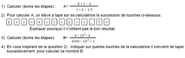 Calcul numérique et calculatrice : exercices en 3ème.