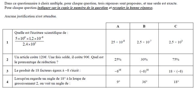 Questionnaire à choix multiples (QCM) : exercices en 3ème.
