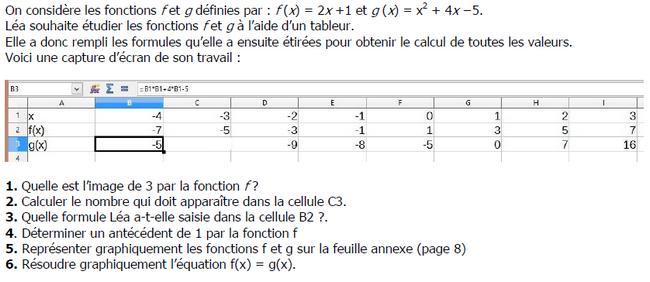 Tableur et fonctions : exercices en 3ème.