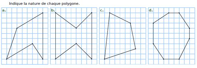 Indiquer la nature du polygone : exercices en CM2.