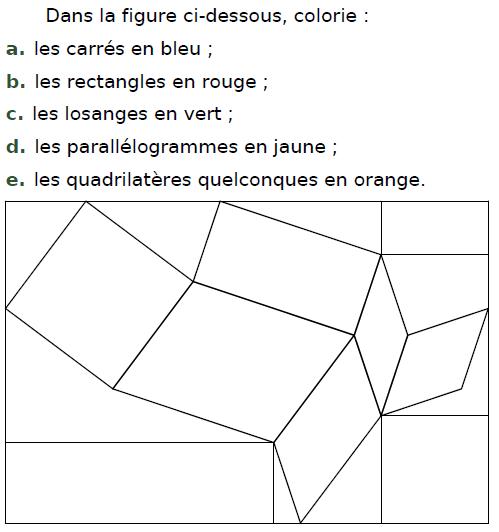 Carré, losange, rectangle et parallélogramme : exercices en CM2.