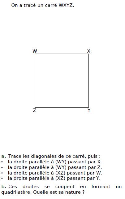 Droites parallèles et carré : exercices en CM2.