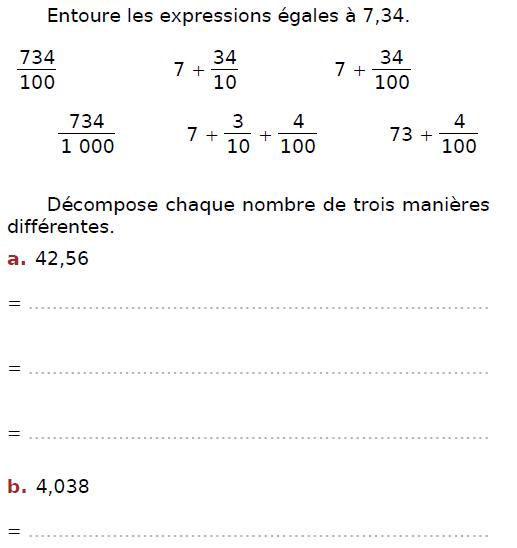 Décomposer un nombre décimal : exercices en CM2.