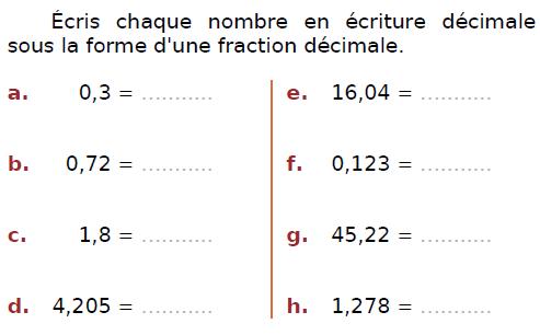 Ecrire chaque nombre en écriture décimale : exercices en CM2.