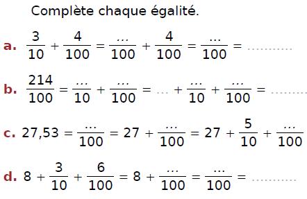 Compléter chaque égalité : exercices en CM2.