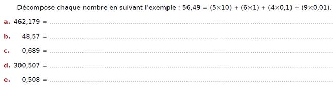 Décomposr chacun des nombres décimaux : exercices en CM2.
