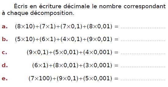 Ecriture décimale et décomposition : exercices en CM2.