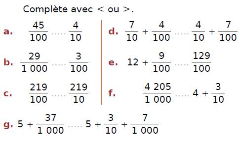 Comparer ces fractions : exercices en CM2.