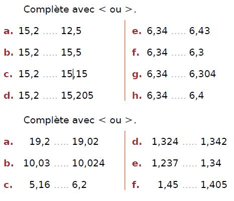 Comparer des fractions : exercices en CM2.