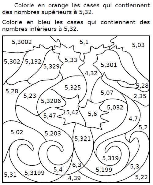 Colorier des cases : exercices en CM2.