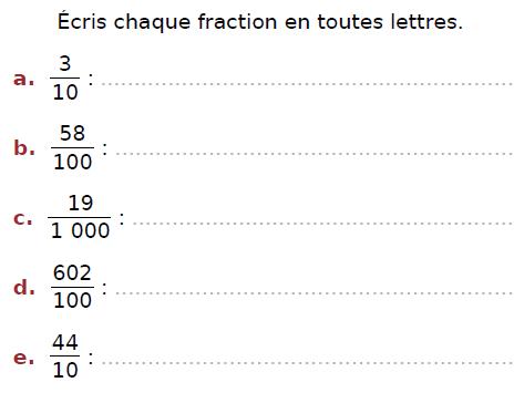 Ecrire une fraction en toutes lettres : exercices en CM2.