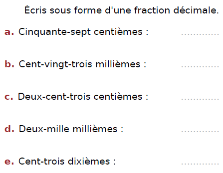 Ecrire sous forme décimale : exercices en CM2.
