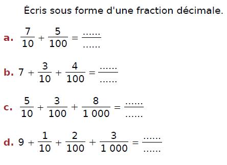Donner l'écriture décimale : exercices en CM2.