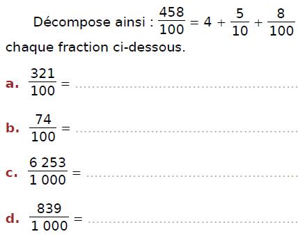 Décomposer des fractions : exercices en CM2.