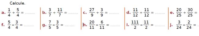 Addition de fractions : exercices en CM2.