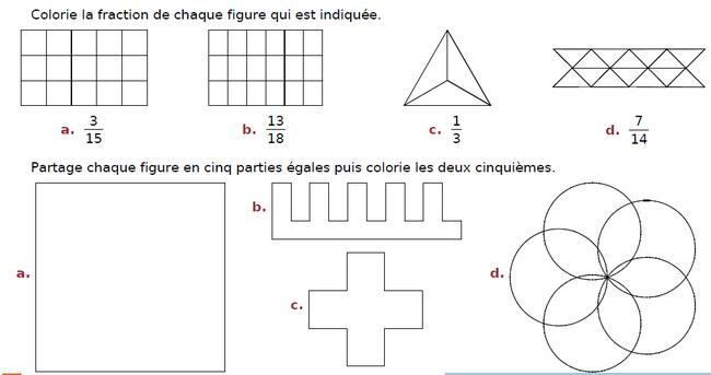 Colorier la fraction de chaque figure : exercices en CM2.