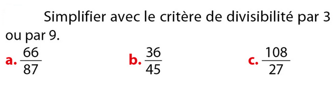 Simplifier des fractions : exercices en 5ème.