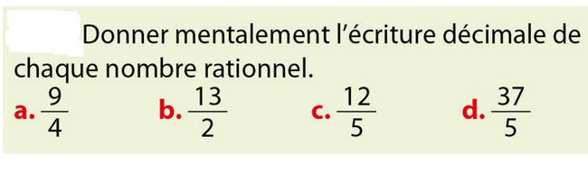 Ecriture décimale : exercices en 5ème.
