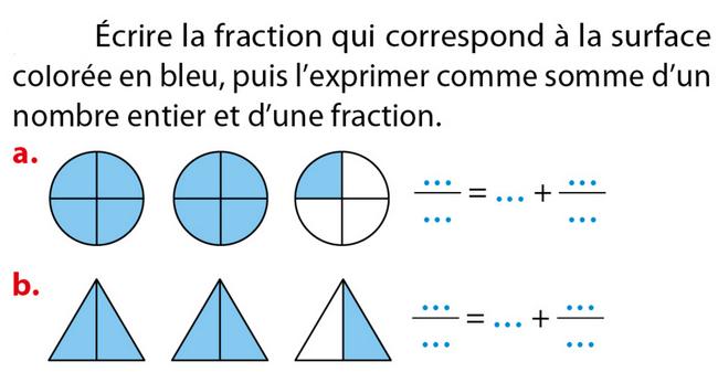 Ecrire la fraction : exercices en 5ème.