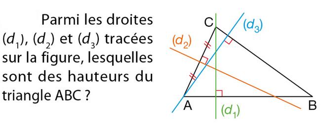 Hauteurs d'un triangle : exercices en 5ème.
