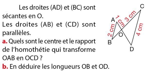 Homothéties et configuration de Thalès : exercices en 3ème.