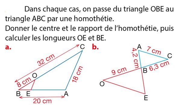 Centre et rapport de l'homothétie : exercices en 3ème.