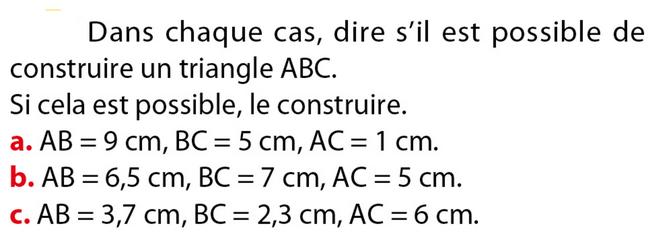 Inégalité triangulaire : exercices en 5ème.