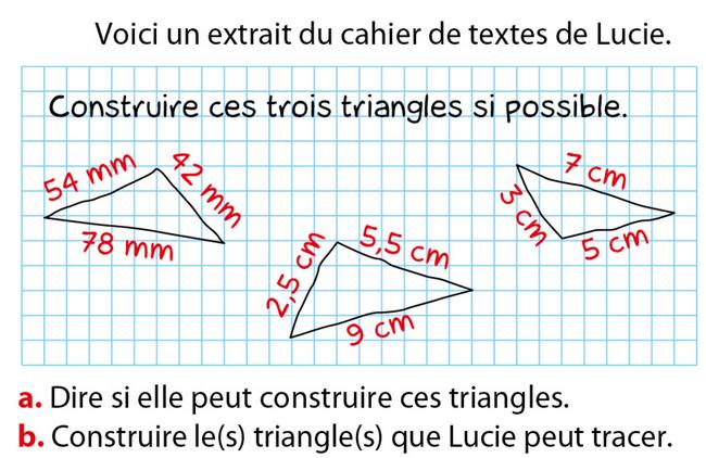 Triangles constructibles : exercices en 5ème.
