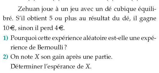 Jeu de dé cubique équilibré et expérience de Bernoulli : exercices en 1ère S.