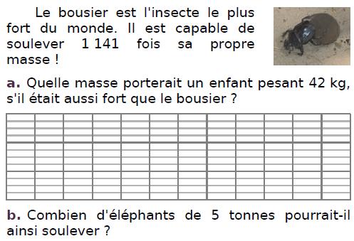 Le bousier est l'insecte le plus fort du monde : exercices en CM2.