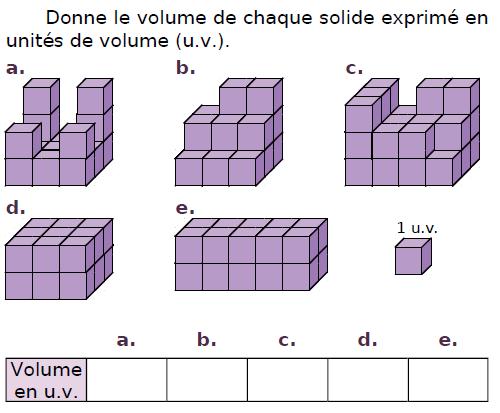Donner le volume de chaque solide : exercices en CM2.