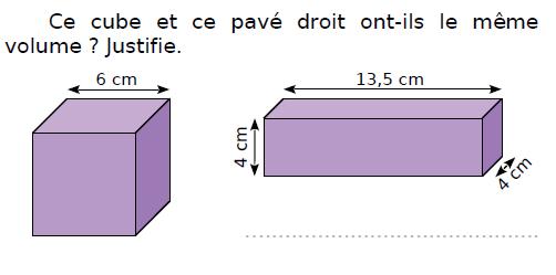 Cube et pavé droit : volumes : exercices en CM2.